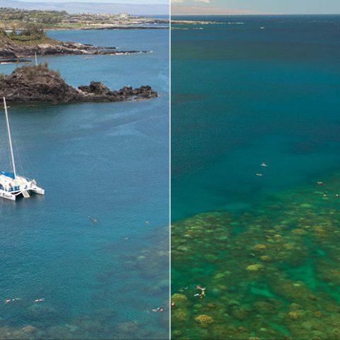 Maui-Jim-PolarizedPlus2-gepolariseerde-glazen-vs-Ray-Ban-zonnebril-verschil-in-zeekleur-MauiJimzonebril.nl